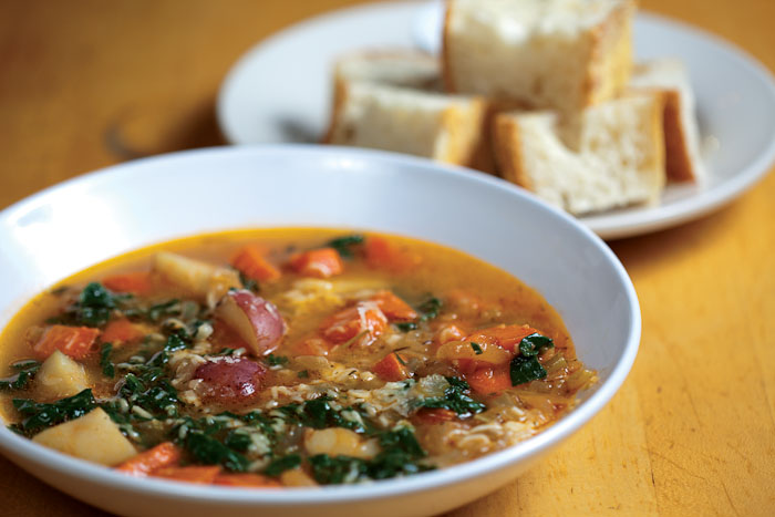 Vegetable Potage: carrots, potatoes, greens  from Boggy Creek farm and herbs from the Texas French Bread garden