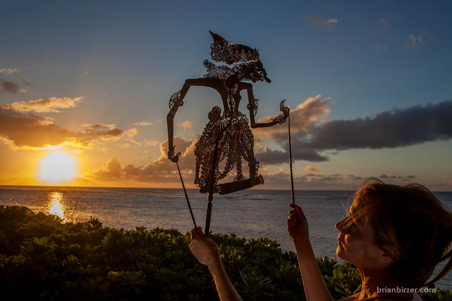 Polynesian shadow puppet at sunset north shore