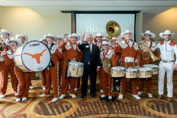 Rex Tillerson, Exxon ExxonMobil C.E.O. with the University of Texas Longhorn Band